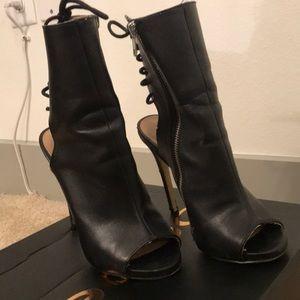 Bebe open back leather booties